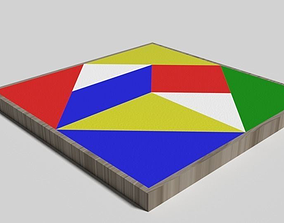 Wooden Jigsaw Puzzle toy for children 3D model