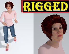 Cartoon Woman Rigged 3D model rigged