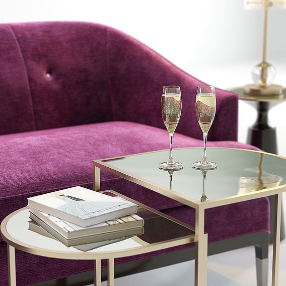 Furniture Visualization | Baker Carnelian Sofa