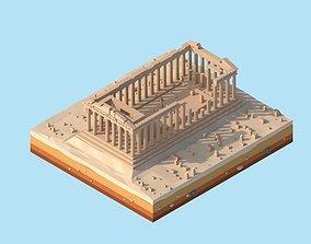 Cartoon Low Poly Greece Parthenon Landmark 3D asset