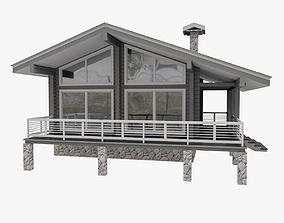 3D model European Wood TImber House