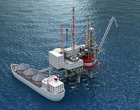 3D Offshore oil rig drilling platform and tanker