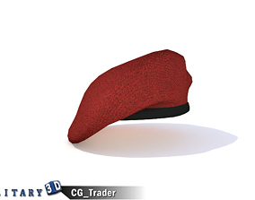 game-ready Military Beret Red Hat Lowpoly 3D Model