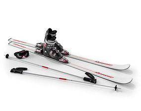 3D model Ski Equiptment White
