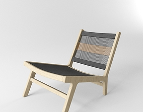 3D model West Elm Wood Rope Lounge Chair