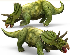 Green Triceratops dinosaur Rigged Animated 3D animated