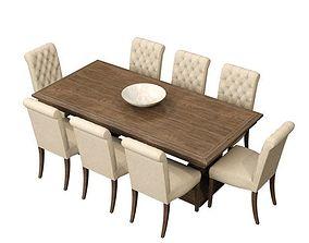 3D model RH St James Dining Table Bennett Roll Back Side