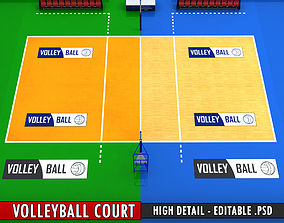 3D asset Volleyball court high detail low poly