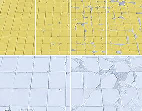 Chipped tiles 100x100 mm 3D model