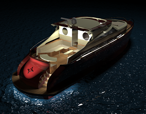 Concept Lobster Yacht Model rigged