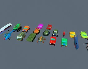 3D model Low poly stylized vehicles pack
