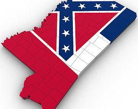 america 3D Mississippi Political Map