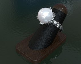 RING WITH PEARL AND DIAMONDS 3D print model