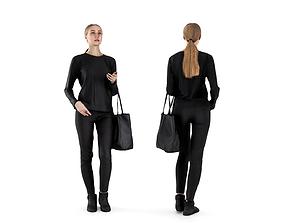 Woman dressed in black 58 3D asset