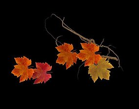 3D model forest maple autumn leaves branches