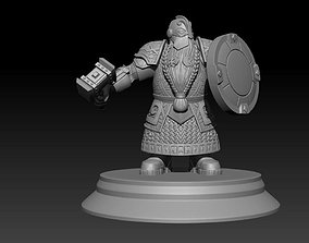 3D printable model heavy armored dwarf sculpture