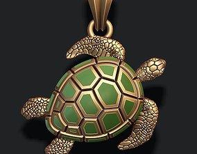 3D print model jewelry turtle pendant with enamel