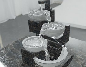 animated game-ready water fountain 3d model