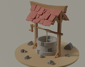 Low Poly Well traditional 3D model realtime