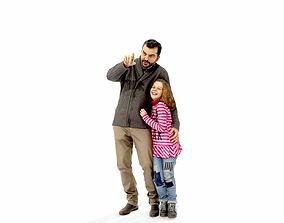 Man Showing Something to Little Girl 3D model