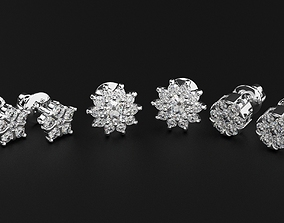 Pak stylish diamond stud earrings 479 3D print model