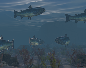 3D model Low poly Fish Rigged 4K PBR Textures Game Ready