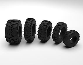 Tractor Tire SET - 5 Tires 3D model