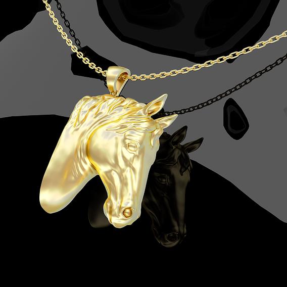 Horse Head Pendant 3D Print Model sculpture Pendant Jewelry