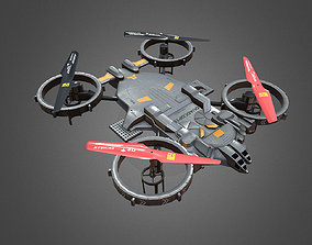 3D model animated low-poly QUADCOPTER