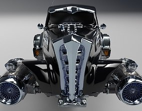 3D asset Futuristic Retro Car Low Poly Game Ready
