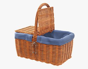 Picnic wicker basket empty 3D