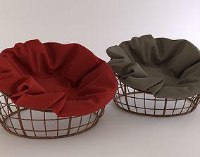 3D Wicker round armchair