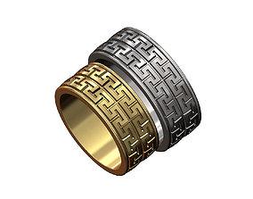 Double row Meandre Greek key pattern ring 3D print model