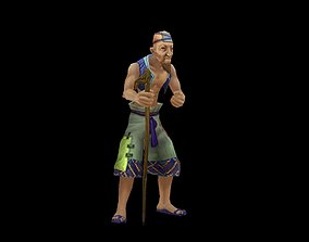 3D model animated Old man