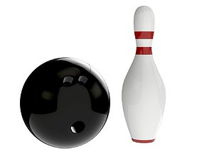 3D model bowling ball and pin