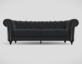 Vintage style upholstered black sofa with black 3D model 1