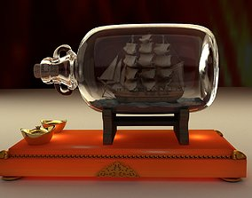 Chinese ship in the bottle 3D model