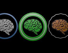 Low poly brain symbol 15 3D asset