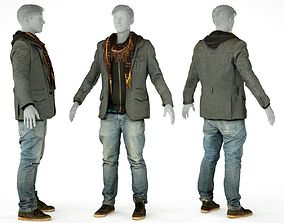 3D asset Male Casual Outfit 64 Jacket Scarf Jeans Shoes
