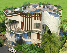 architecture New Modern Villa - 3Ds Model - 2Ds Plans