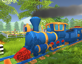 A cartoon train locomotive with wagons and rails 3D model