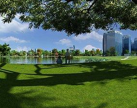 Urban Park Lake Under the Tree 3D model