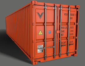 3D model PBR 40 ft Shipping Cargo Container - Orange