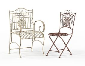 Maison Rouge Tennyson Distressed White Rustic Garden 3D