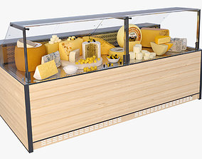Showcase and variouse cheese 3D
