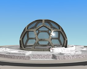 3D model small hexagon dome with an underground entrance