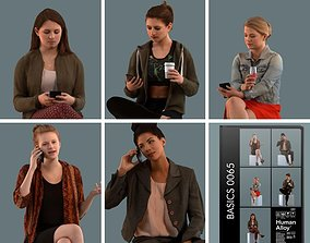 Set of 3D women talking on the phone