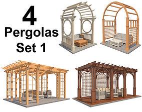 3D asset Pergolas Set 1