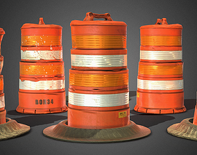 game-ready PBR 3D TRAFFIC DRUMS - Game Ready