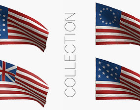 3D American Revolutionary War Flags Collection